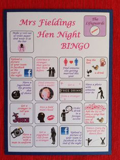 Hen Night Bachelorette Party Game - BINGO customise for the Bride to Be 50th Birthday Party Games, Wedding Party Games, Dinner Party Games, Garden Wedding Games, Bingo Party, Game Bingo, Adult Party Bags, Hen Party Bags, Funny Games For Groups