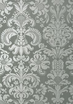 ASHLEY, Metallic Silver on Grey, T89171, Collection Damask Resource 4 from Thibaut