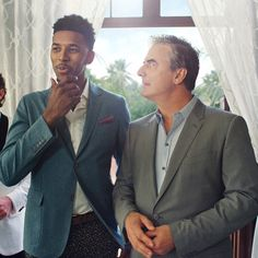 Nick Young aka Swaggy P with 'Sex and The City' legend Mr. Big (Chris Noth) on set for a commercial shoot.