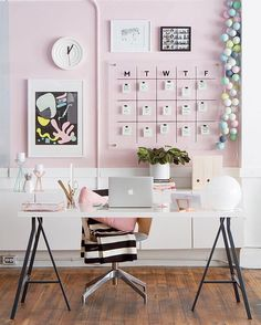 "10.9k Likes, 233 Comments - Workspace Goals  (@workspacegoals) on Instagram: ""Pink-walled #workspacegoals  Regram via: @ohhappyday in the USA  The team at Oh Happy Day have a…"""