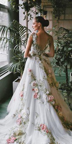 36 Ultra-Pretty Floral Wedding Dresses For Brides ❤ floral wedding dresses a line v back with floral white inga ezergale Fantasy Wedding Dresses, Wedding Dresses With Flowers, Best Wedding Dresses, Unique Dresses, Pretty Dresses, Bridal Dresses, Vintage Dresses, Beautiful Dresses, Wedding Outfits