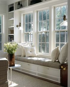 Idea for window in living room—framed with bookcases and window seat in between. Window seat could serve as dining seating! Window Benches, Window Seats With Storage, Bay Window Seating, Window Seat Cushions, Bench Cushions, Bay Window Storage, Window Seat Storage Bench, Sitting Pillows, Storage Benches