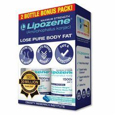 Lipozene - Weight Loss Supplement Diet Pills - Appetite Suppressant and Control - Two Bottles 60 Capsules Total Weight Loss Plans, Fast Weight Loss, Lose Weight, Water Weight, Full Body Detox, Natural Detox Drinks, Fat Burning Detox Drinks, Pasta, Healthy Detox