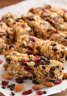 These Peanut Butter Chocolate Trail Mix Granola Bars are made with wholesome ingredients to create homemade granola bars you feel good about eating. Recipe by Dessert Now, Dinner Later for SuperHealthyKids.com