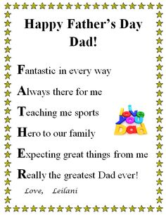 Find out Short Happy Fathers Day Poems From Kids, preschoolers, toddlers, Daughter & son. Inspirational cute fathers day poems 2019 from wife To Husband love through poetry Short Fathers Day Poems, Father Poems, Dad Poems, Happy Fathers Day Images, Happy Fathers Day Dad, Happy Father Day Quotes, Daddy Day, Poems For Mothers Day, Fathers Day Letters