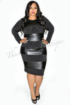 Leather Stripe Dress