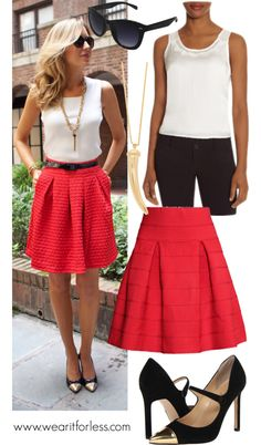 Mary Orton from Memorandum in a white sleeveless top and red skirt - get the look for less!