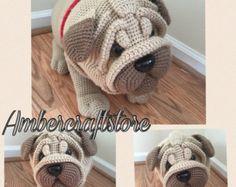 Crochet pug dog pattern pdf miniature animal crochet by Lybo