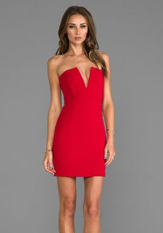 NOOKIE Rubix V-Front Bustier Dress in Cherry Red