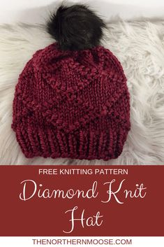 Classy and elegant diamond knit patten. Classy and elegant diamond knit patten. Classy and elegant diamond knit patten. Easy Knitting Patterns, Loom Knitting, Knitting Stitches, Free Knitting, Knitting Projects, Crochet Projects, Crochet Patterns, Knit Hat Pattern Easy, Simple Knitting