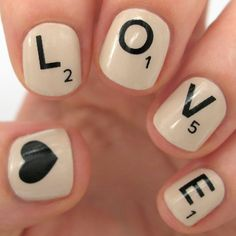 Love this idea of Scrabble-inspired nails. Really quirky and cute.