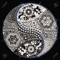 Yin Yang Symbol, Asian Decoration Element. Pattern On Black ...