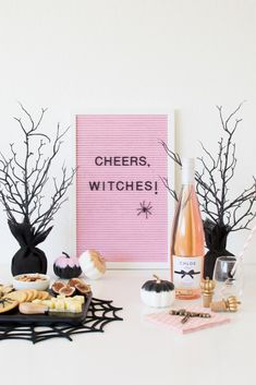 How to host a Halloween Inspired Wine & Cheese Girls' Night In Party Pink letter board Cheers, Witches! How to host a Wine & Cheese [. Halloween Letters, Pink Halloween, Halloween Home Decor, Halloween Birthday, Halloween House, Spooky Halloween, Holidays Halloween, Halloween Treats, Halloween Decorations