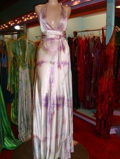 silk hand dyed halter dress with sash and train by momo soho.
