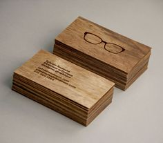 Wood business cards with copper foil detail designed by and for Sylvain Toulouse.