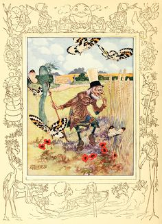 """9. """"I Look for Butterflies that Sleep among the Wheat.""""    ----     Charles Folkard Illustrations: Songs from Alice in Wonderland and Through the Looking-Glass"""
