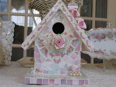 Mosaic Birdhouse by bellawood, via Flickr