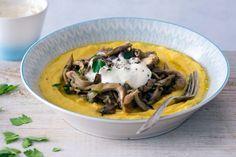 Hlívové ragú s krémovou polentou Polenta, Vegan Dinners, Veggie Food