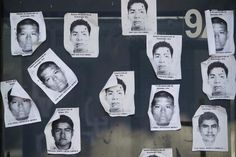 Printouts of Ayotzinapa Teacher Training College students, missing after last month's deadly clashes in Iguala, are plastered on a Palo Blanco tollbooth along a road leading to Acapulco, Mexico, during a blockage by trainee teachers of the United Front of Public Guerrero State Teacher Training Schools (FUNPEG), October 9, 2014. REUTERS-Jorge Dan Lopez