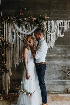Add some bohemian flair to your wedding ceremony with a floral adorned macrame backdrop |photo by Jessica Heron, wedding design by SueBlue Events, floral design by Tribes N Pines, rentals by Vintage Meets Modern and SueBlue Event Rentals, backdrop by Work/Shop PDX