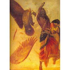 Ravana and Jatayu (Ravi Varma Print)