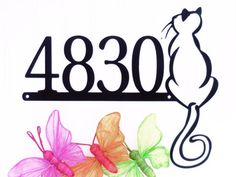 Custom Outdoor Cat House Number Metal Sign - Black, by Refined Inspirations Outdoor Cats, Outdoor Signs, Metal House Numbers, Cat Signs, Address Plaque, Home Signs, Cat Stuff, Metal Signs, Metal Wall Art