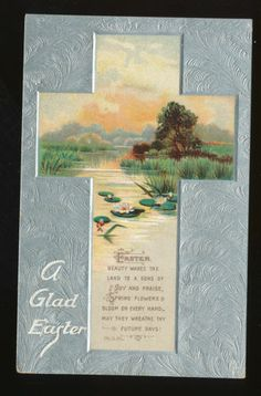 ~Easter Cross~ Water Scene~ Lily Pads~Poem ~Antique Postcard- Tuck Publ.-ccc842