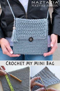 Crochet My Mini Bag Using the Star Stitch Tutorial Cross Body My Mini Bag - Naztazia ® Purse Patterns Free, Crochet Purse Patterns, Crochet Clutch, Bag Pattern Free, Crochet Handbags, Crochet Purses, Crochet Bags, Crochet Pattern, Free Crochet Bag