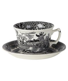 Black Willow Teacup and Saucer- Burleigh