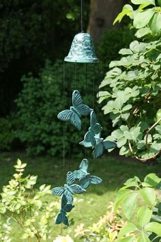 Bell and Butterflies Wind Chime - beautiful verdigris finish chime from Woodstock