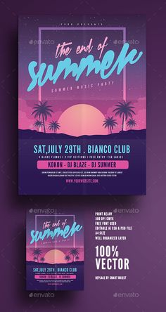 The End of Summer Party Flyer — Photoshop PSD #end #electro • Download ➝ https://graphicriver.net/item/the-end-of-summer-party-flyer/20394607?ref=pxcr