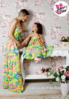 Mom And Baby Dresses, Mom And Baby Outfits, Mother Daughter Matching Outfits, Mother Daughter Fashion, Mom Daughter, Kids Outfits, Girls Dresses, Baby Dress Patterns, Baby Suit