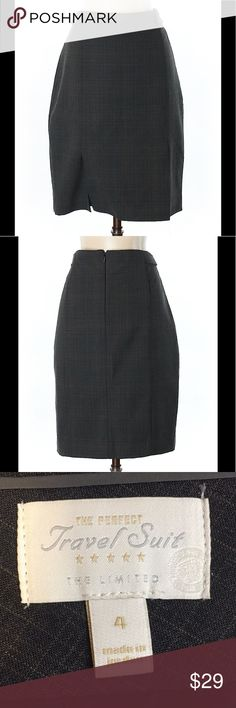 """The Limited Dark Grey plaid pencil skirt sz 4 The Limited Dark Grey plaid pencil skirt sz 4. 20"""" length. Excellent like new condition. The Limited Skirts Pencil"""
