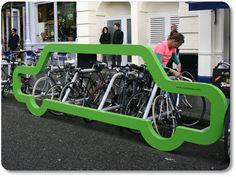 Cyclehoop - bike rack shaped like a car, has room for 10 bikes.