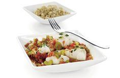 En eksotisk og kalorifattig middagsrett med fisk. Retten kan varieres med ulik type hvit fisk!