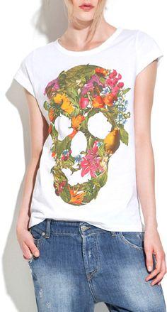 Flower Pattern Colorful Skull Print White T-shirt