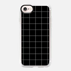 iPhone 7 Case White Grid on Black