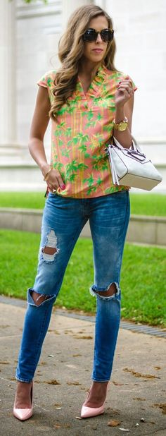 Bamboo Print Top Outfit Idea by For The Love Of Fancy
