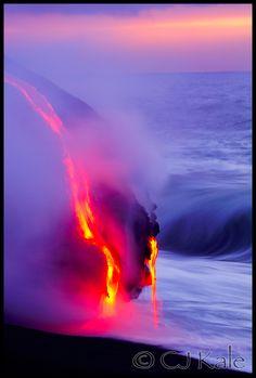 """Just Dripping,"" lava from Mount Kilauea Volcano near Kalapana, Hawaii Volcanoes National Park.  Photo: CJ Hale"