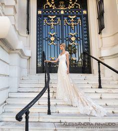 alessandra rinaudo 2017 bridal cap sleeves scoop neckline heavily embellished bodice ivory color romantic princess a  line wedding dress razor back chapel train (bea) mv