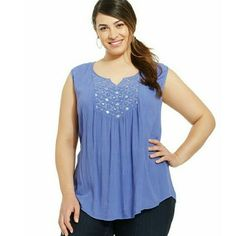 Orchid Blue Beaded Sleeveless Top Shirt Style & Co. Womens Plus Size 0X NWT $56 #Styleco #SleevelessBeadedTop #Casual
