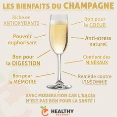 Les bienfaits du champagne Low Calorie Alcohol, Health And Nutrition, Health Fitness, Champagne, Tea Cocktails, Coconut Health Benefits, Fruit Juice, Superfoods, White Wine