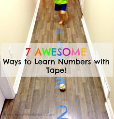 These are great ways to get kids moving and learning numbers. Teach kids to count and more with just a roll of tape! This Kindergarten teacher has some great ideas. A full preschool math curriculum with just some painters tape activities. Number Activities, Number Games, Preschool Learning Activities, Toddler Learning, Kindergarten Activities, Early Learning, Educational Activities, Fun Learning, Preschool Activities