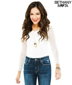 Long Sleeve Lace Bodysuit from Bethany Mota collection at Aeropostale