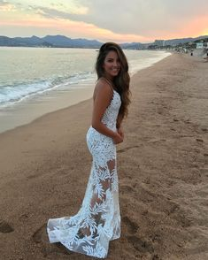 Bridal Beach Walks wearing our hand embellished 'STELLA' dress in White Belle Lingerie, Maxi Gowns, Prom Dresses, White Beach Wedding Dresses, Culottes, Strings, Fashion Pictures, Marie, Girl Fashion