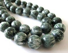 Mix Green White Seraphinite Beads  Smooth Round by BijiBijoux