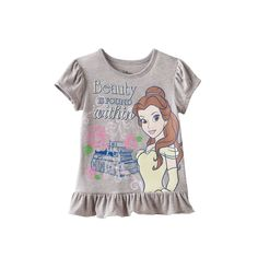 "Disney's Beauty and the Beast Princess Belle ""Beauty is Found Within"" Peplum Tee, Girl's, Size: 2T, Light Grey"