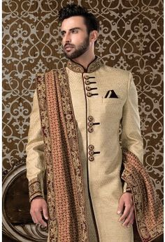 Wedding Sherwani-Gold-Zardosi Work-SH225