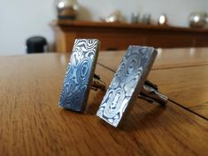 Stainless Damascus steel and sterling silver cufflinks Damascus Ring, Damascus Steel, Drops Patterns, Sterling Silver Cufflinks, Special Dresses, Swirl Pattern, Scene Photo, Our Wedding Day, Groomsmen