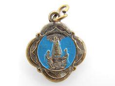 Rare Blue Enamel Our Lady Of Montaigu - Sacred Heart of Jesus Catholic Medal - Religious Charm by LuxMeaChristus